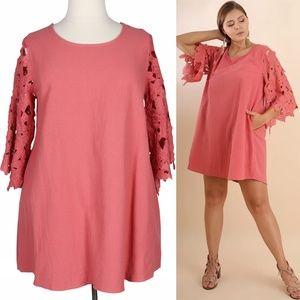 Pink Cotton 2X Floral Lace Sleeve Mini Dress